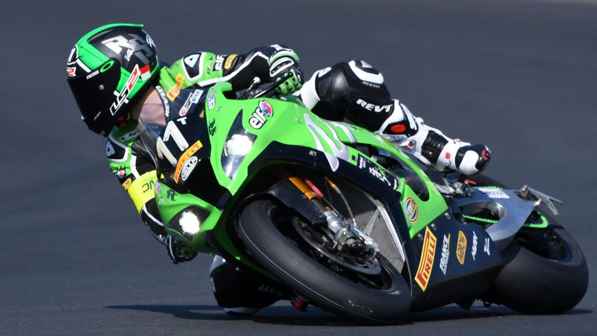 Randy De Puniet, au guidon de la Kawasaki N.11, lors des 24 Heures du Mans motos 2017.