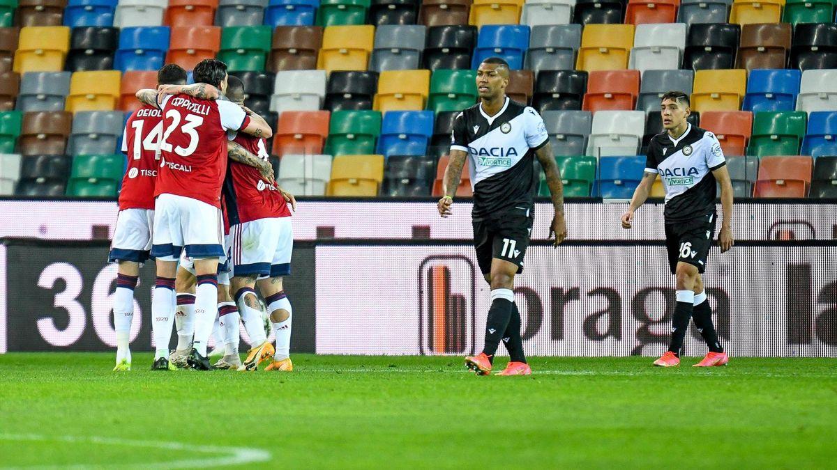Esultanza Pavoletti, Joao Pedro, Marin, Udinese-Cagliari, Imago