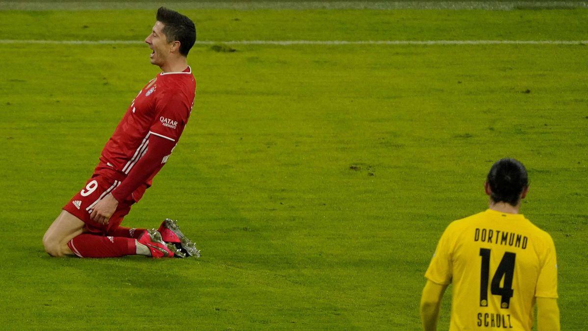 Robert Lewandowski (l.) trifft dreifach gegen den BVB