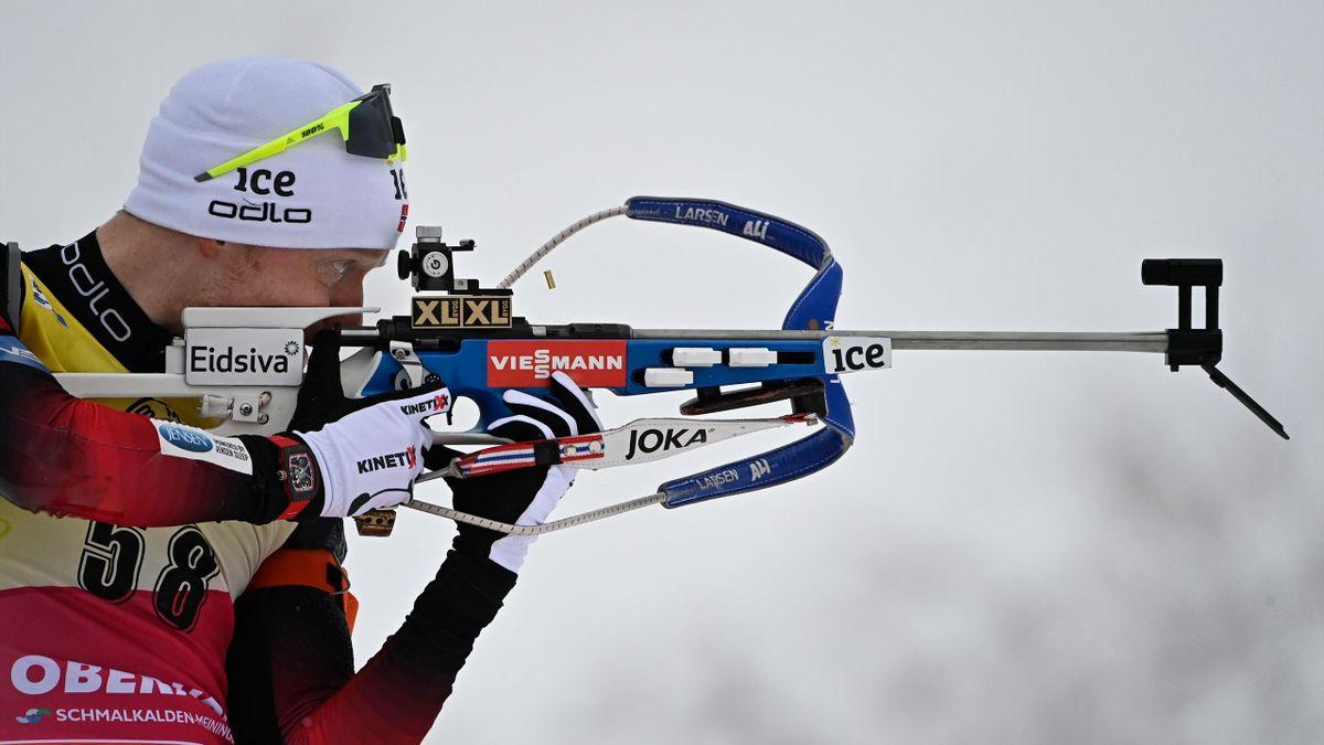 Johannes Boe lors du sprint, le 13 janvier 2021