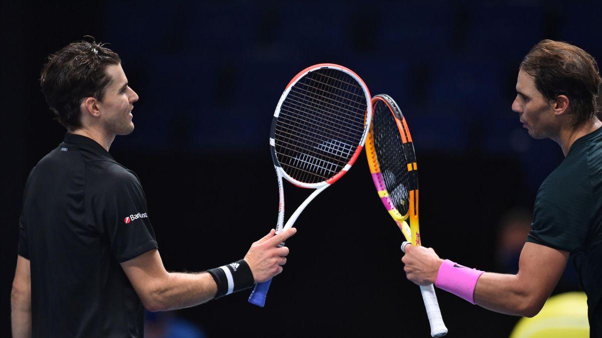 Dominic Thiem et Rafael Nadal après leur match au Masters