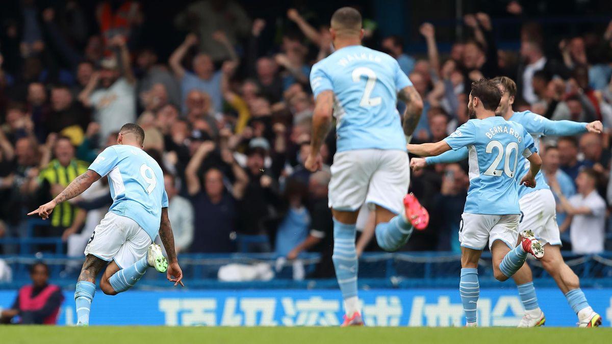 Gabriel Jesus celebrates his winner for Manchester City against Chelsea in the Premier League.
