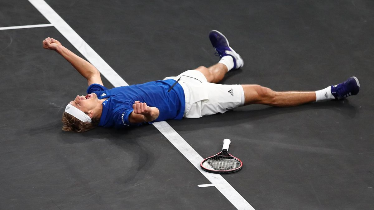 Alexander Zverev of Team Europe celebrates Laver Cup point in the final match of the tournament against Milos Raonic of Team World during Day Three of the Laver Cup 2019 at Palexpo on September 22, 2019 in Geneva.