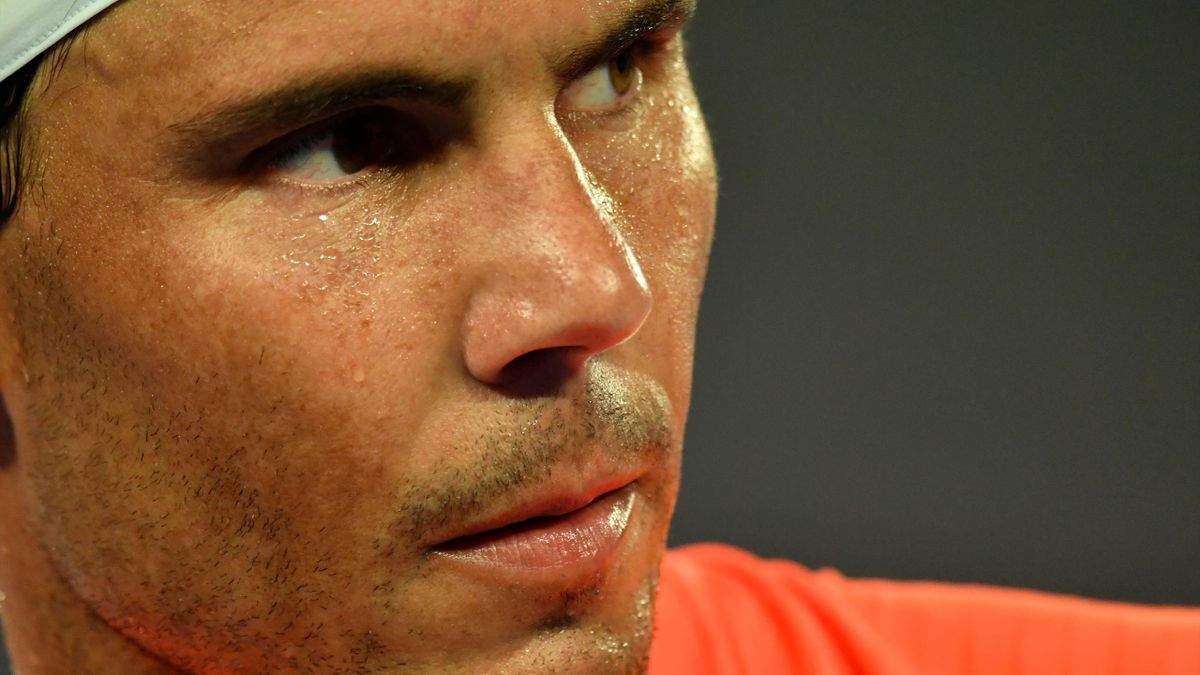Spain's Rafael Nadal reacts after a point against Greece's Stefanos Tsitsipas during their men's singles quarter-final match