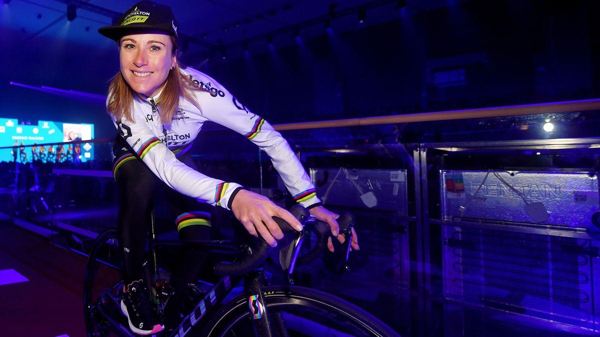 Annemiek Van Vleuten of The Netherlands and Team Mitchelton-SCOTT World Champion Jersey