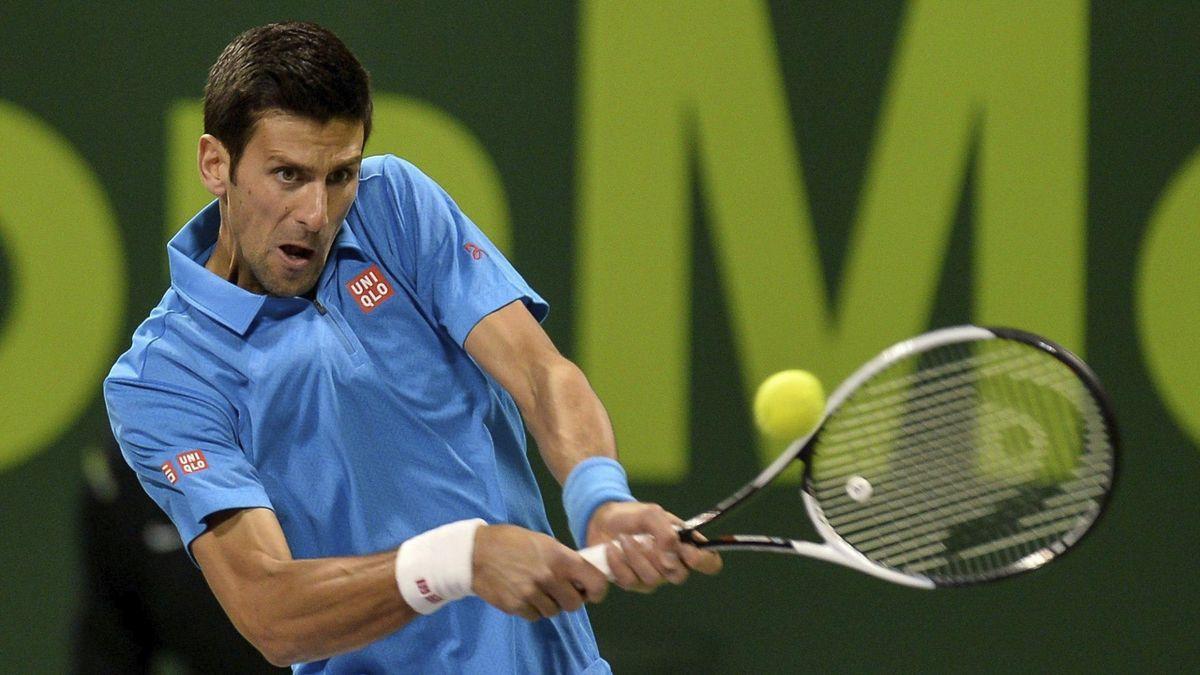 Djokovic durante el partido que le enfrentó a Stepanek en Doha