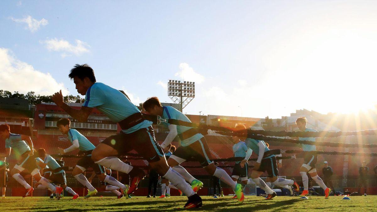 La selección de Fiyi durante un entrenamiento en Río 2016