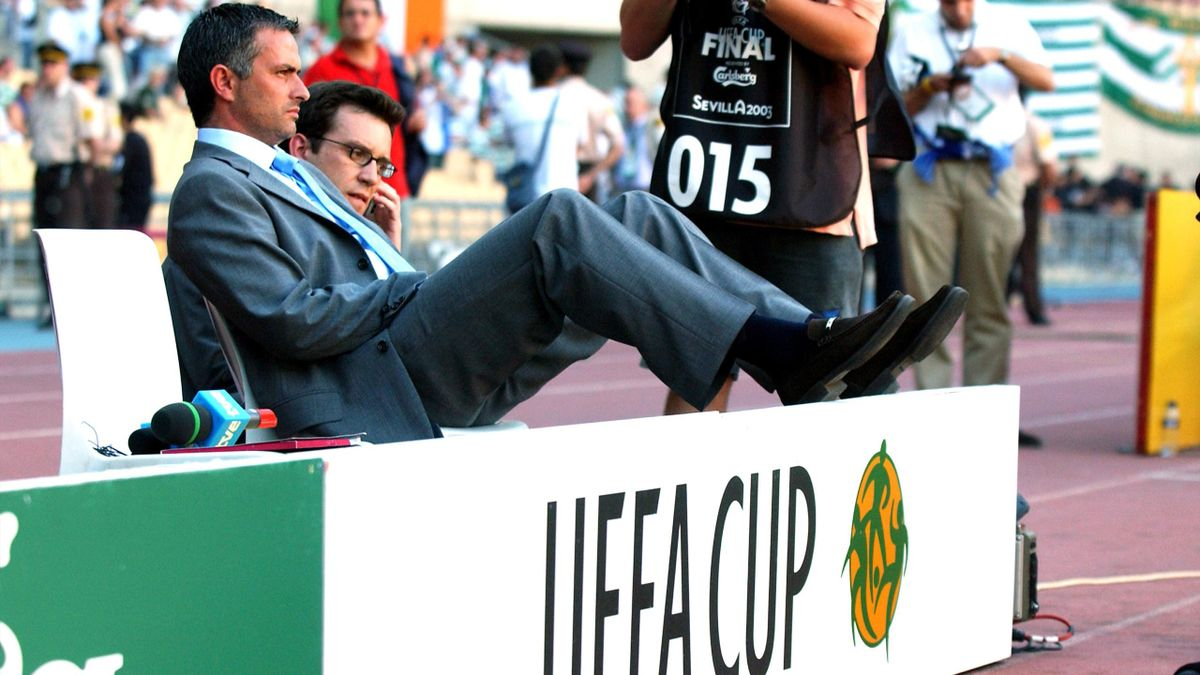 Jose Mourinho at the 2003 UEFA Cup final in Seville.