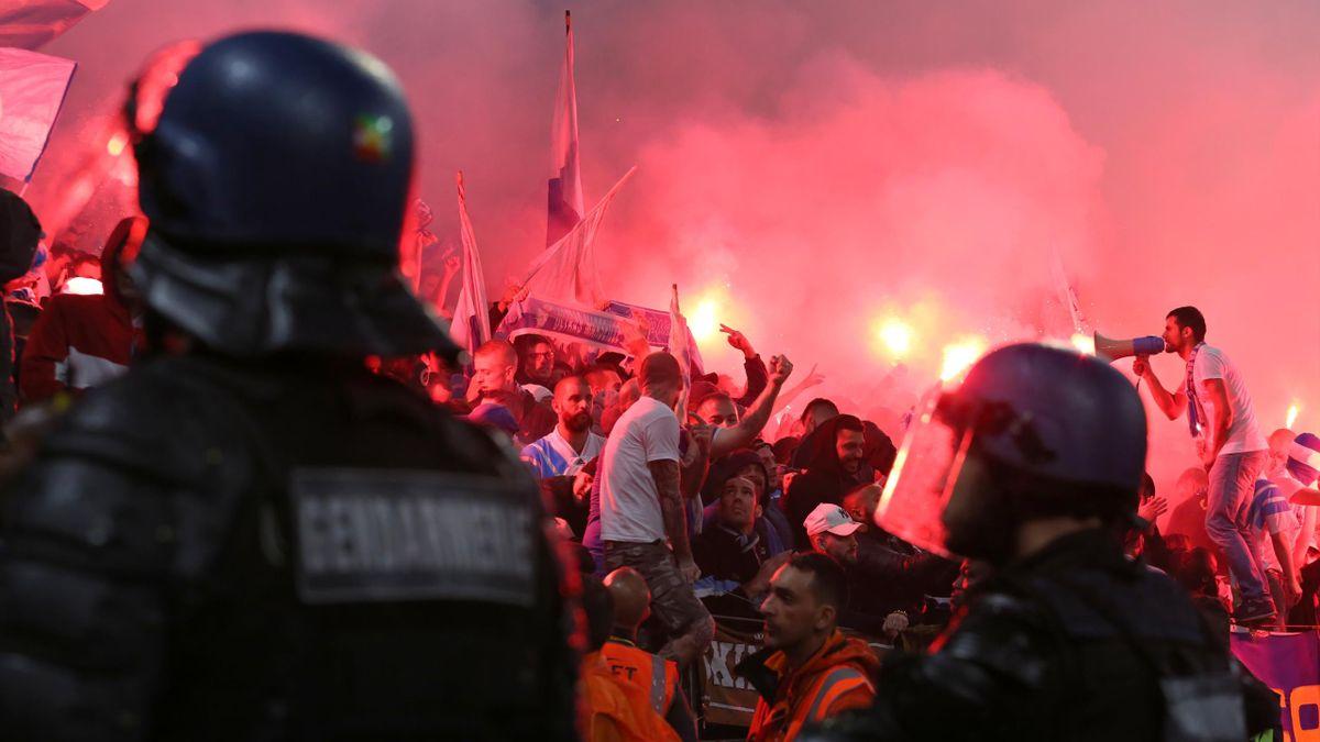 Des gendarmes encadrent les supporters de l'OM en 2019 - Photo d'archive