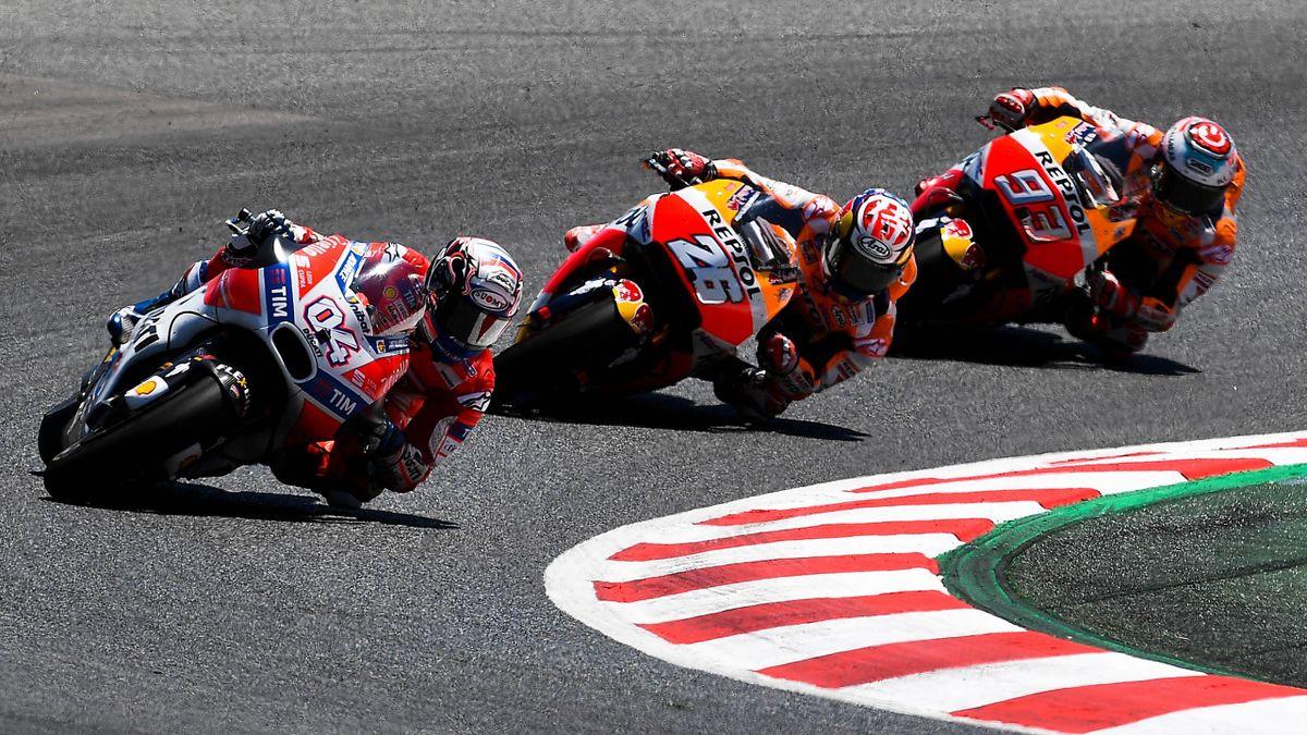 Andrea Dovizioso (Ducati Team), Dani Pedrosa (Honda HRC) and Marc Marquez - Catalunya GP 2017