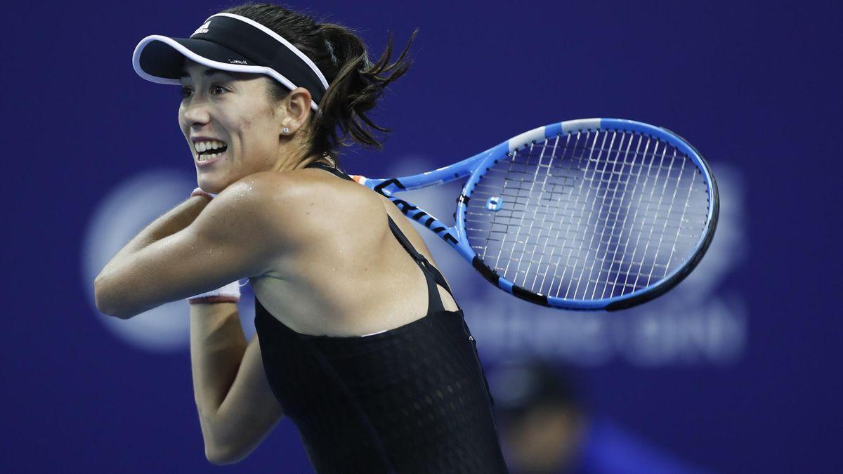 Garbiñe Muguruza en un momento de su partido ante Anastisja Sevastova en el WTA Elite Trophy celebrado en Zhuhai