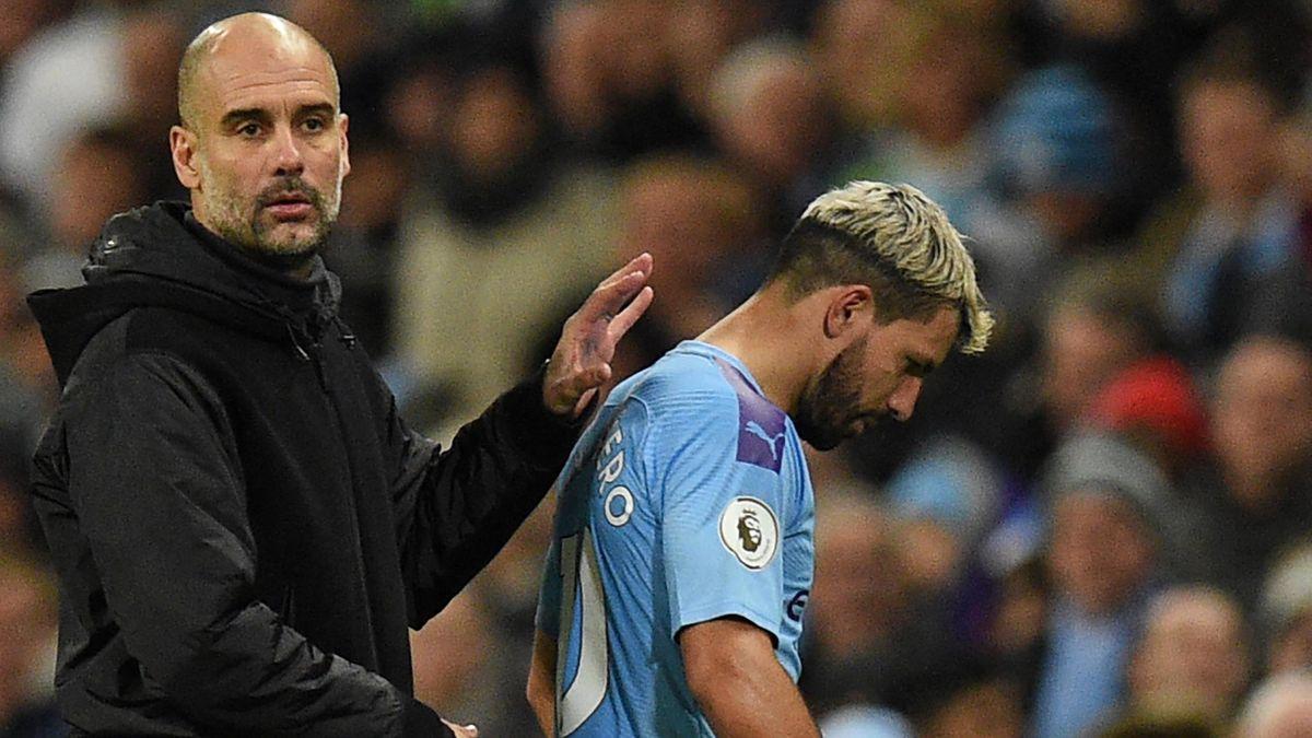 Pep Guardiola und Sergio Agüero von Manchester City