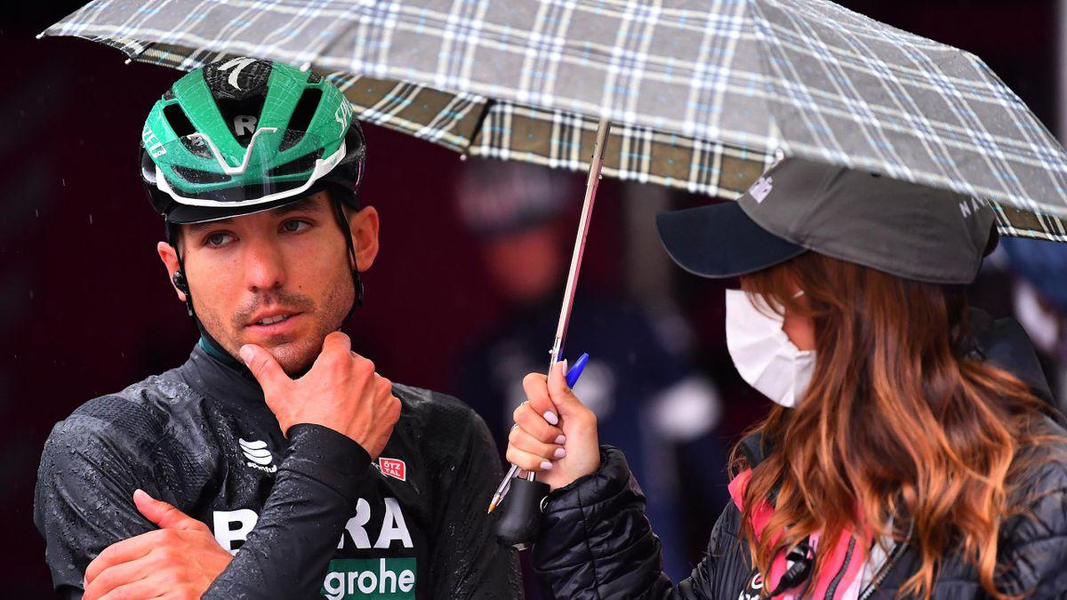 Cesare Benedetti (Bora-Hansgrohe) ahead of the rain-shortened Stage 19 of the Giro d'Italia 2020
