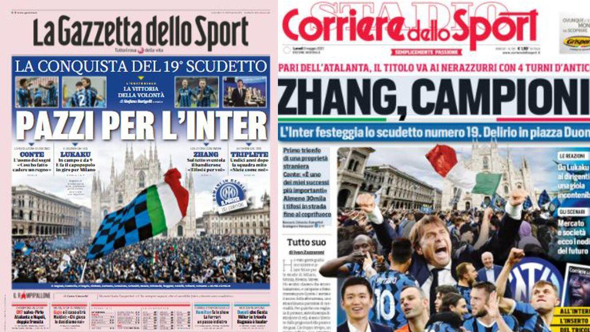 """Da """"Pazzi per l'Inter"""" a """"Zhang, campioni"""": i titoli dei giornali"""