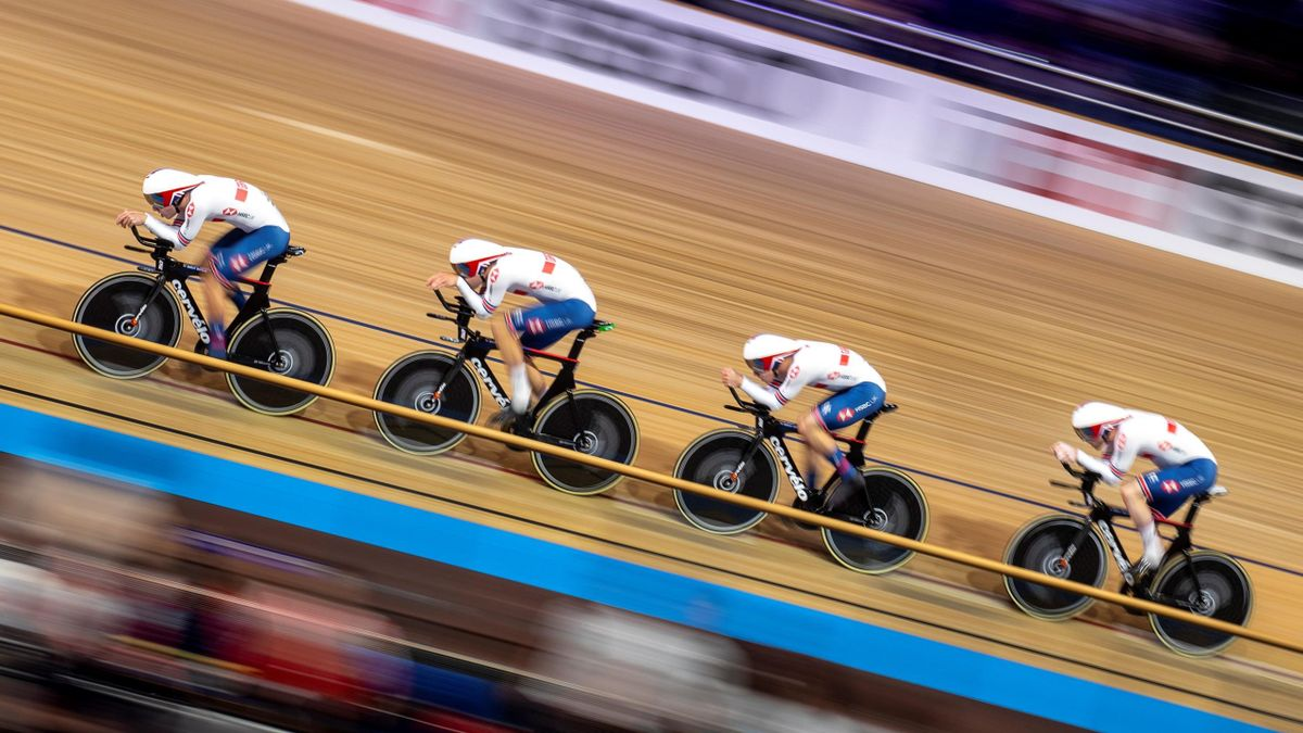 Katie Archibald, Elinor Barker, Eleanor Dickinson and Neah Evans compete in the Women's Team Pursuit qualifying at the UCI track cycling World Championship in Berlin on February 26, 2020.