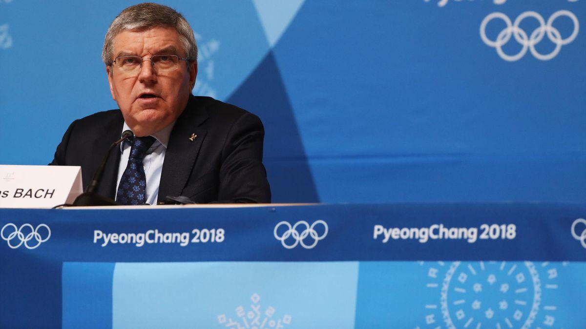 Thomas Bach, lors de la conférence de presse du 25 février 2018, à Pyeongchang