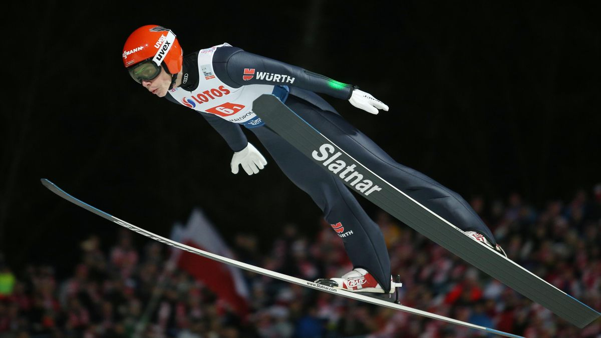 Constantin Schmid een in action during the team competition of the FIS Ski Jumping World Cup in Zakopane