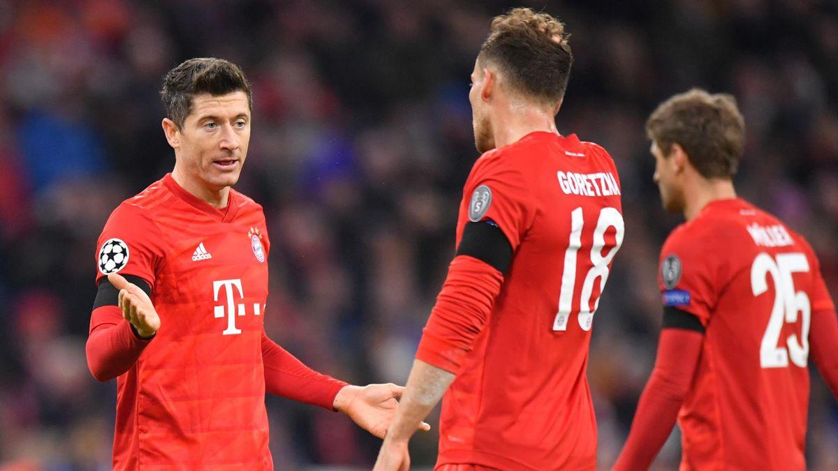 Robert Lewandowski, Leon Goretzka et Thomas Müller (Bayern Munich) en Ligue des champions