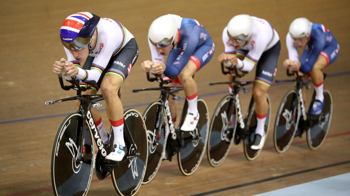 Ethen Hayter, Oliver Wood, Steven Burke and Klan Emadi of Great Britain compete in the mens team pursuit qualification during the track cycling on Day one of the European Championships Glasgow 2018