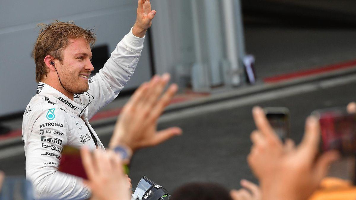 Nico Rosberg celebrates his victory in the European GP