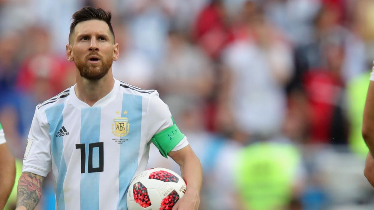 Lionel Messi of Argentina looks on during the 2018 FIFA World Cup Russia Round of 16 match between France and Argentina at Kazan Arena on June 30, 2018 in Kazan, Russia