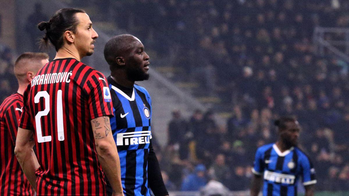 Inter-Milan, Serie A 2019-2020: Zlatan Ibrahimovic (Milan) e Romelu Lukaku (Inter) (Getty Images)