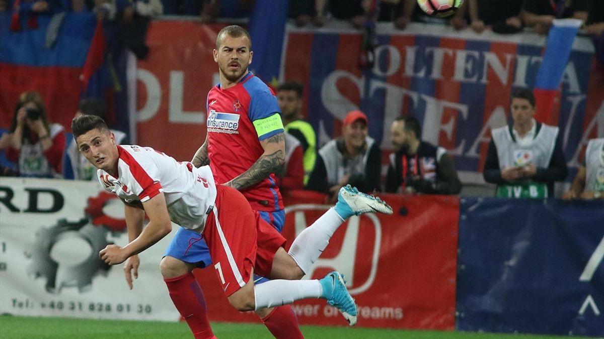 Steliano Filip, în duel cu Denis Alibec, într-un FCSB-Dinamo