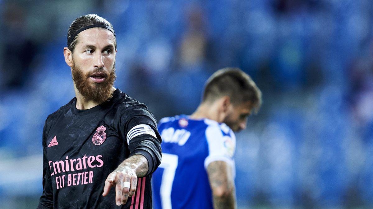 Sergio Ramos of Real Madrid reacts during the La Liga Santander match between Real Sociedad and Real Madrid at Estadio Anoeta on September 20, 2020 in San Sebastian, Spain.