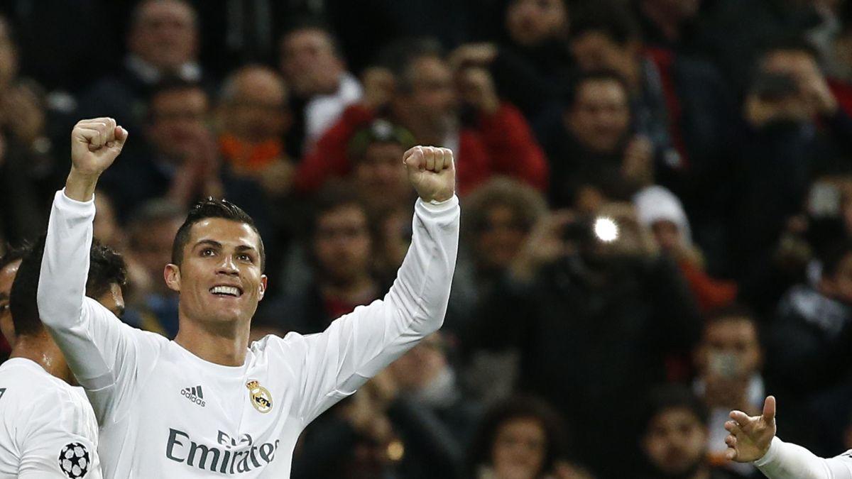 Cristiano Ronaldo celebrates after scoring a goal.
