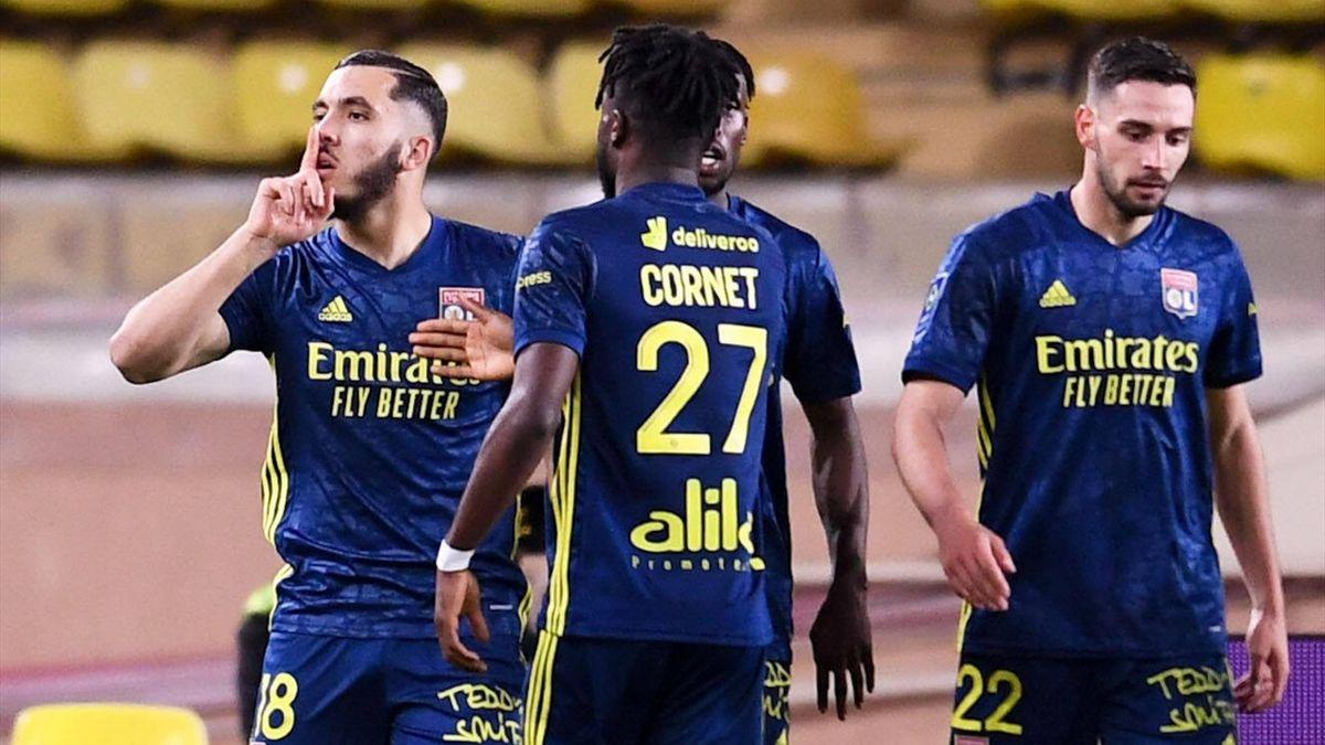 Rayan Cherki (OL) célèbre son but, celui de la victoire sur la pelouse de l'AS Monaco (2-3), lors de la 35e journée de Ligue 1 - 02/05/2021