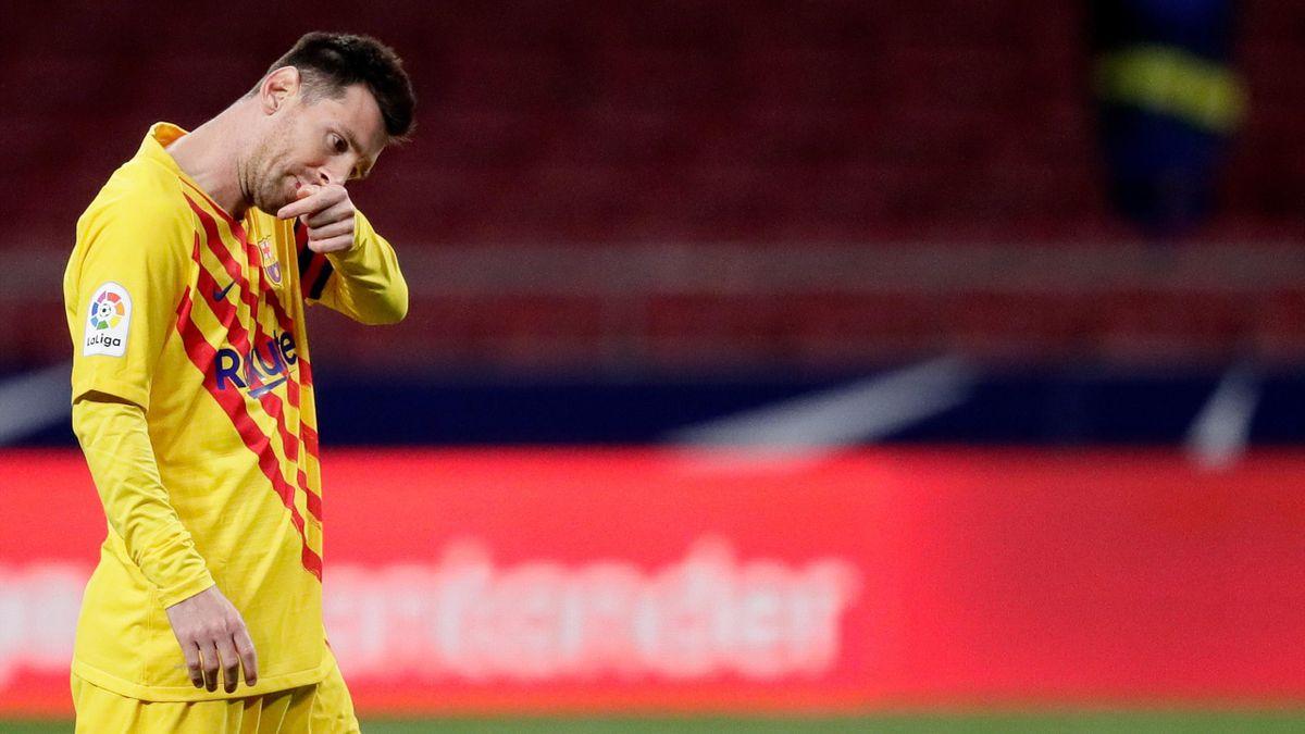Leo Messi, cabizbajo en el Atlético-Barcelona
