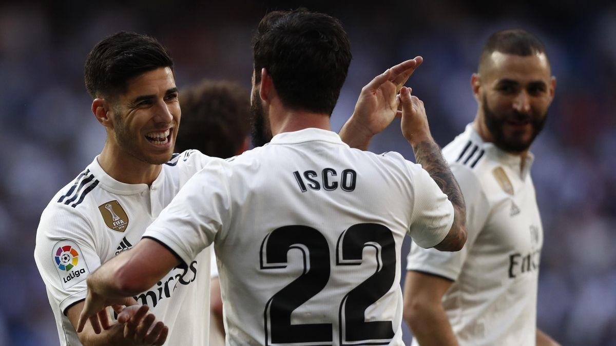 Marco Asensio, Isco, Karim Benzema (v.l.) bei Real Madrid