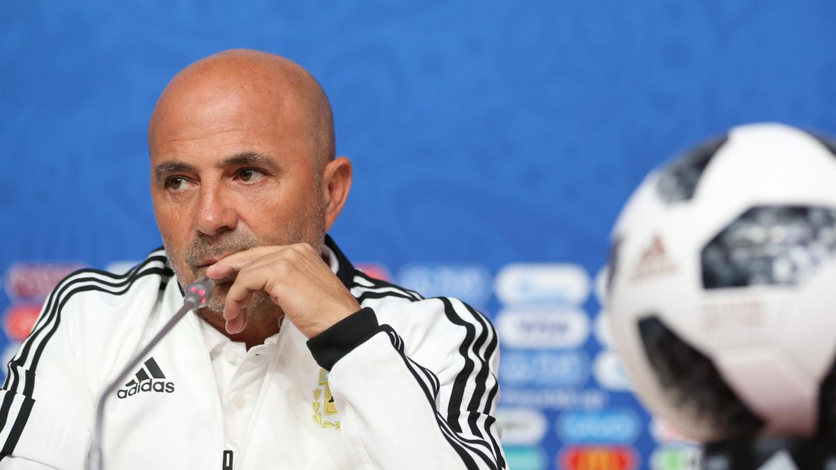 Jorge Sampaoli coach of Argentina looks on during the official press conference ahead of the match against Nigeria at Zenit Arena onJune 25, 2018