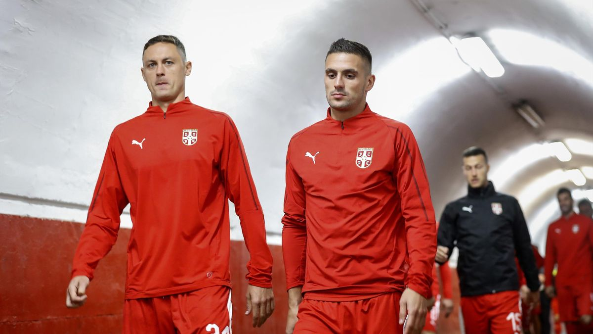 Nemanja Matic (L) and Dusan Tadic