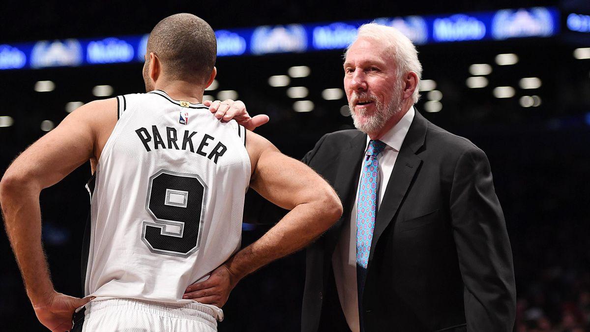 Tony Parker et Gregg Popovich (San Antonio Spurs), en janvier 2018
