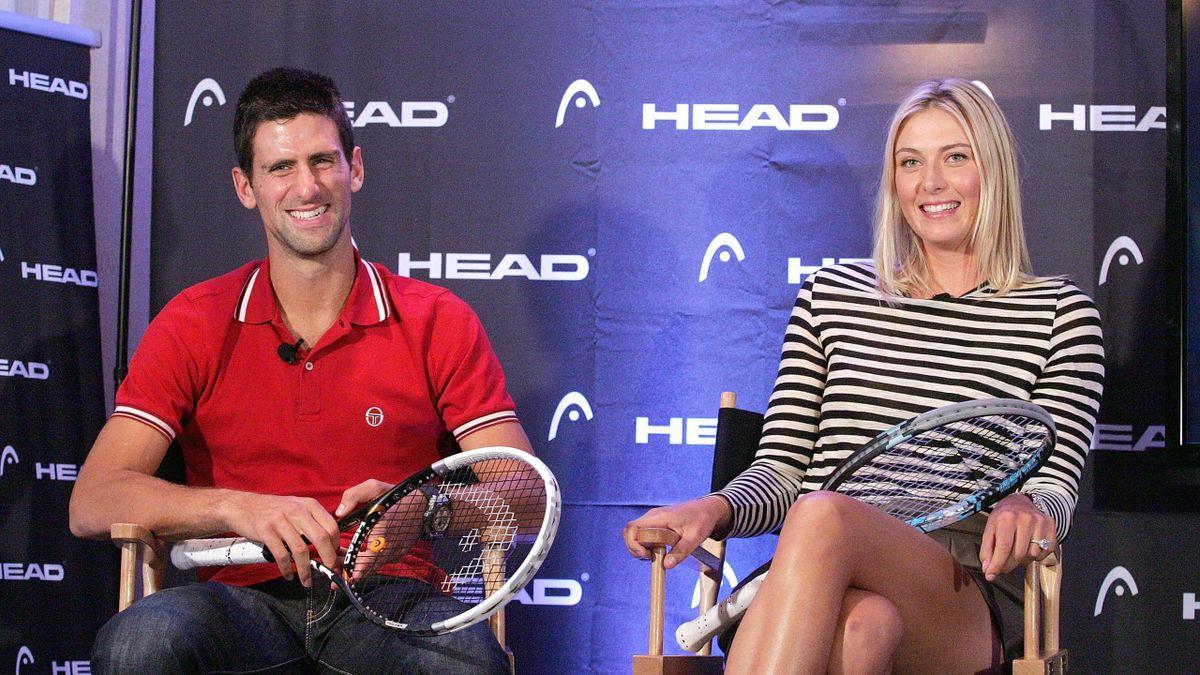 Djokovic en Sharapova tijdens een sponsorevenement