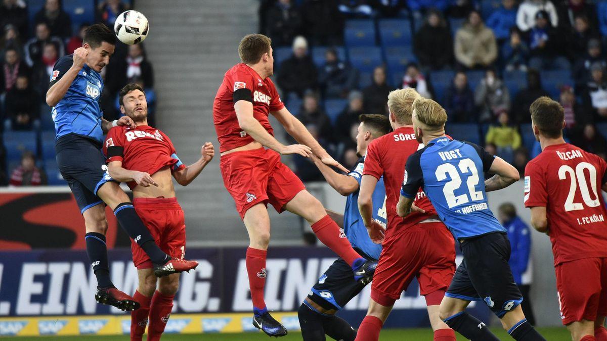 Spielszene aus der Partie TSG 1899 Hoffenheim gegen 1. FC Köln.