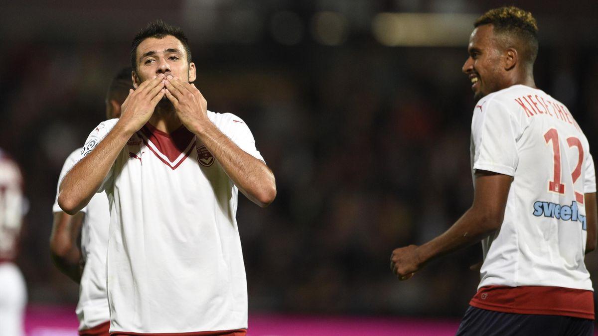 Gaëtan Laborde et Isaac Khiese Thelin sous le maillot de Bordeaux en 2016.