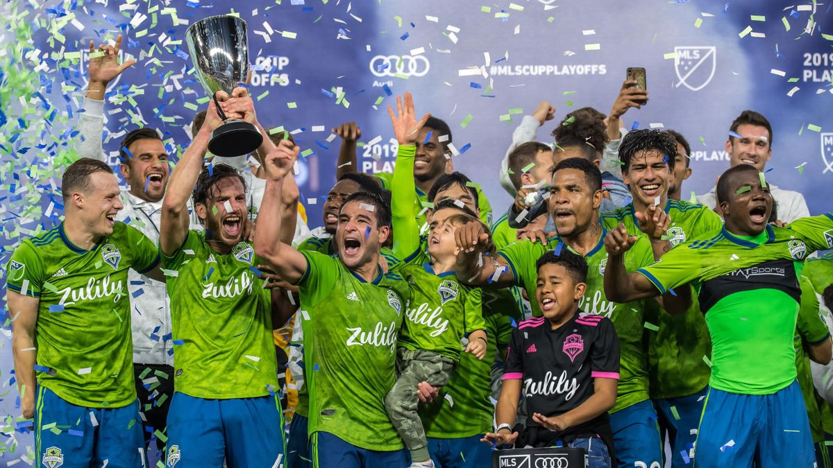Seattle Sounders celebrates the MLS Western Conference Final between Los Angeles FC and Seattle Sounders at the Banc of California Stadium on October 29, 2019 in Los Angeles, California