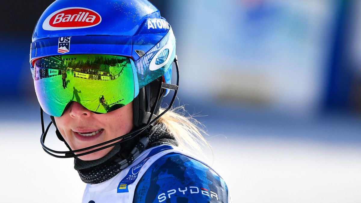 US Mikaela Shiffrin reacts as she crosses the finish line in the second-run of the Women's Slalom on February 20, 2021 at the FIS Alpine World Ski Championships in Cortina d'Ampezzo, Italian Alps. (Photo by Andreas SOLARO / AFP) (Photo by ANDREAS SOLARO/A