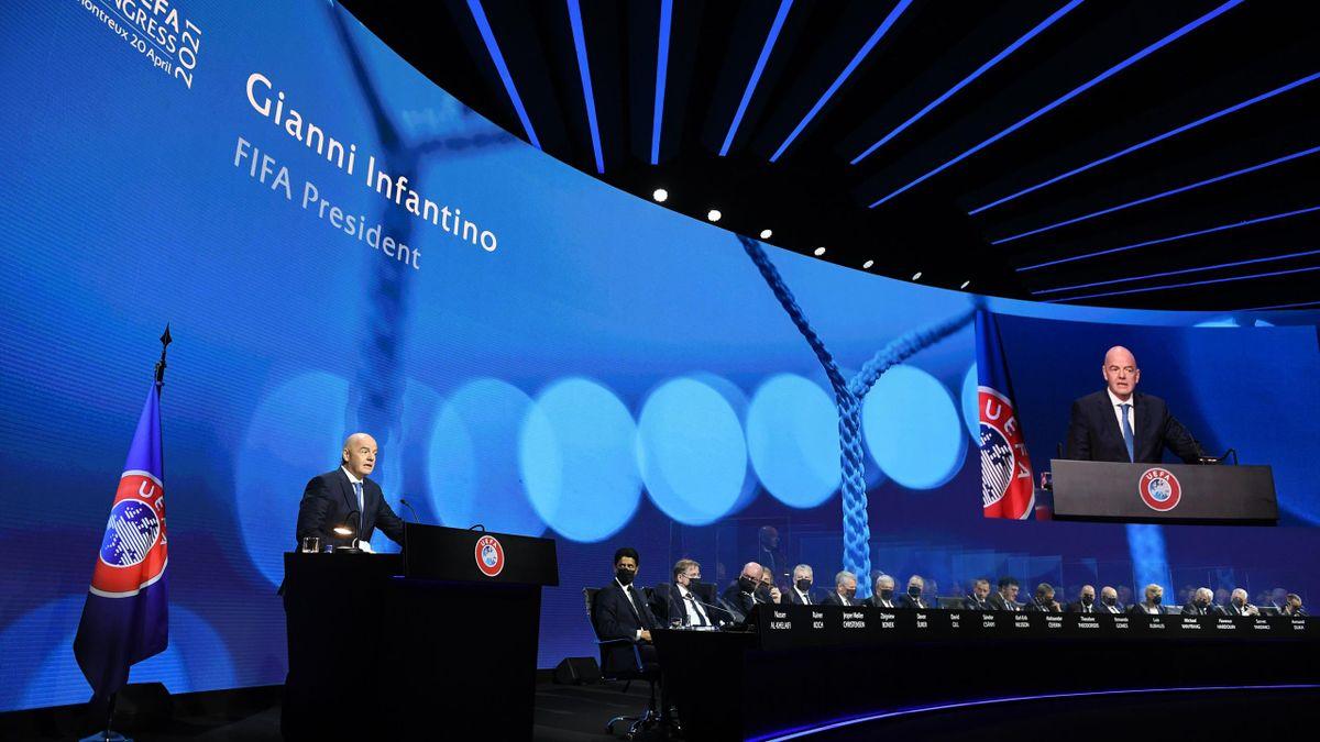 Gianni Infantino lors du congrès de l'UEFA, le mardi 20 avril 2021