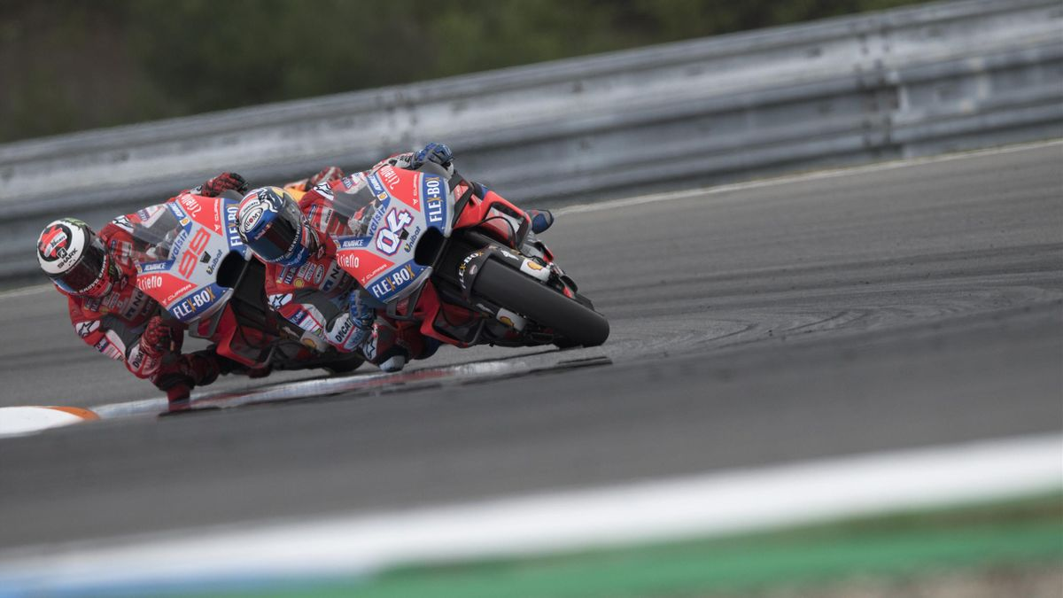 Andrea Dovizioso of Italy and Ducati Team leads Jorge Lorenzo of Spain and Ducati Team during the MotoGP Race during the MotoGp of Czech Republic - Race at Brno Circuit on August 5, 2018 in Brno, Czech Republic