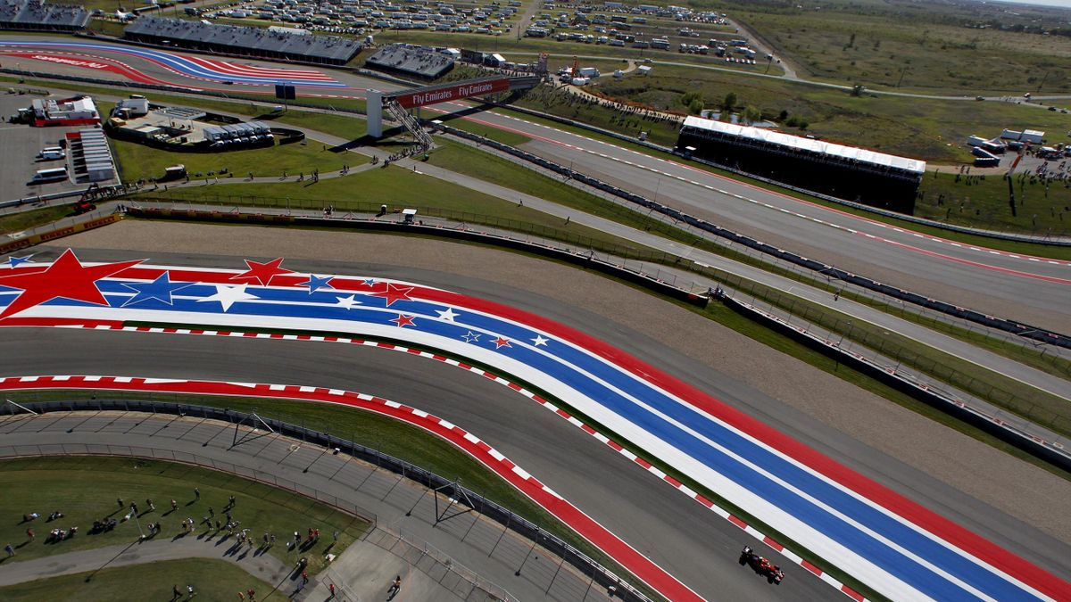 A general view shows the first free practice session of the United States F1 Grand Prix at the Circuit of The Americas in Austin, Texas