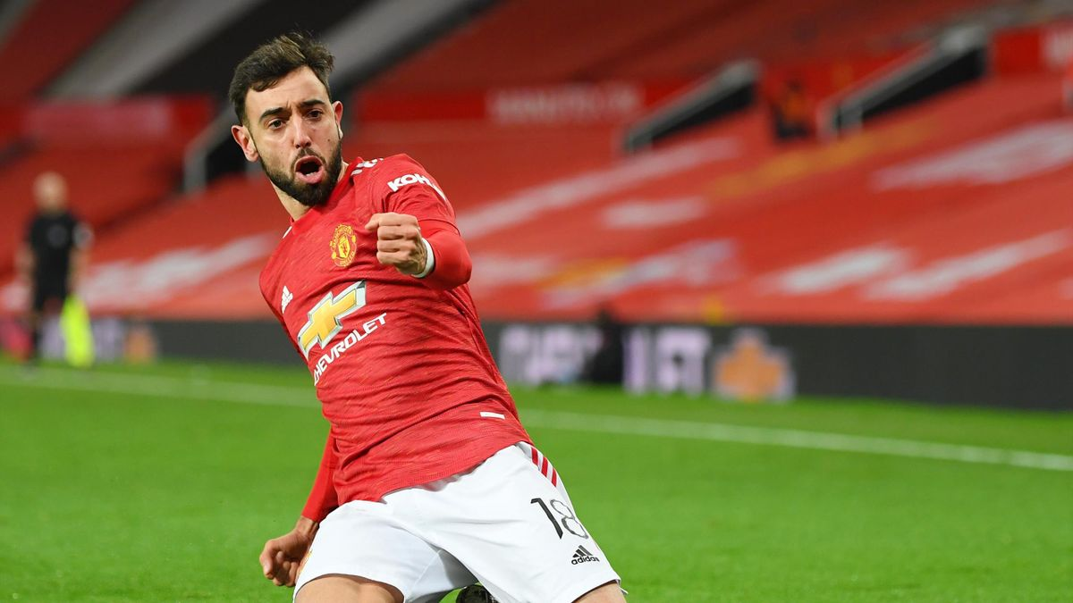 Bruno Fernandes of Manchester United celebrates scoring the winning goal during The Emirates FA Cup Fourth Round match between Manchester United and Liverpool at Old Trafford