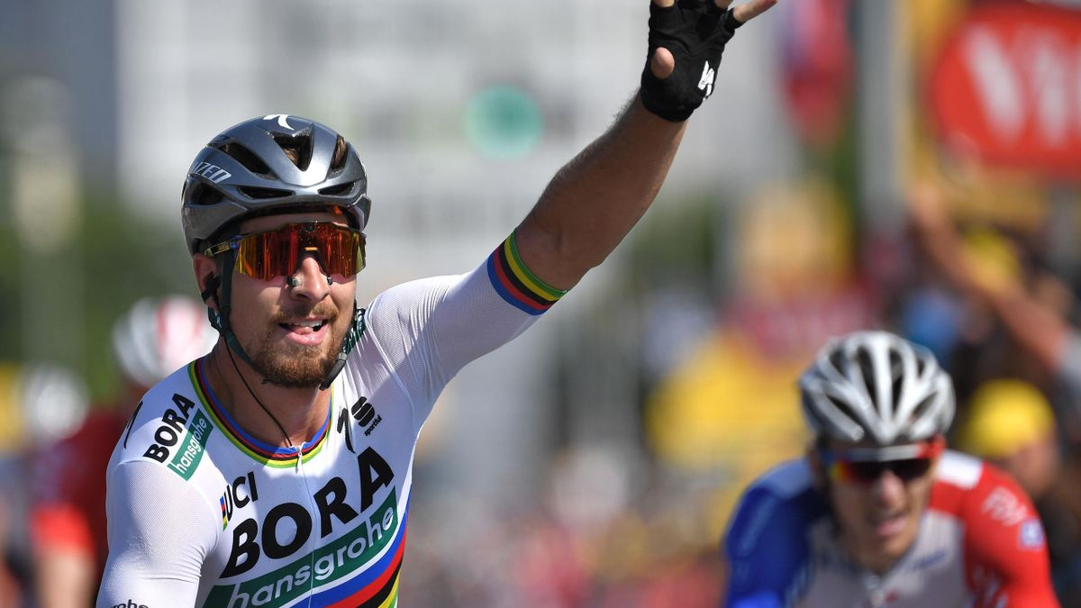 Peter Sagan (L) celebrates after crossing the finish line to win the second stage of the 105th edition of the Tour de France cycling race between Mouilleron-Saint-Germain and La Roche-sur-Yon, western France, on July 8, 2018.