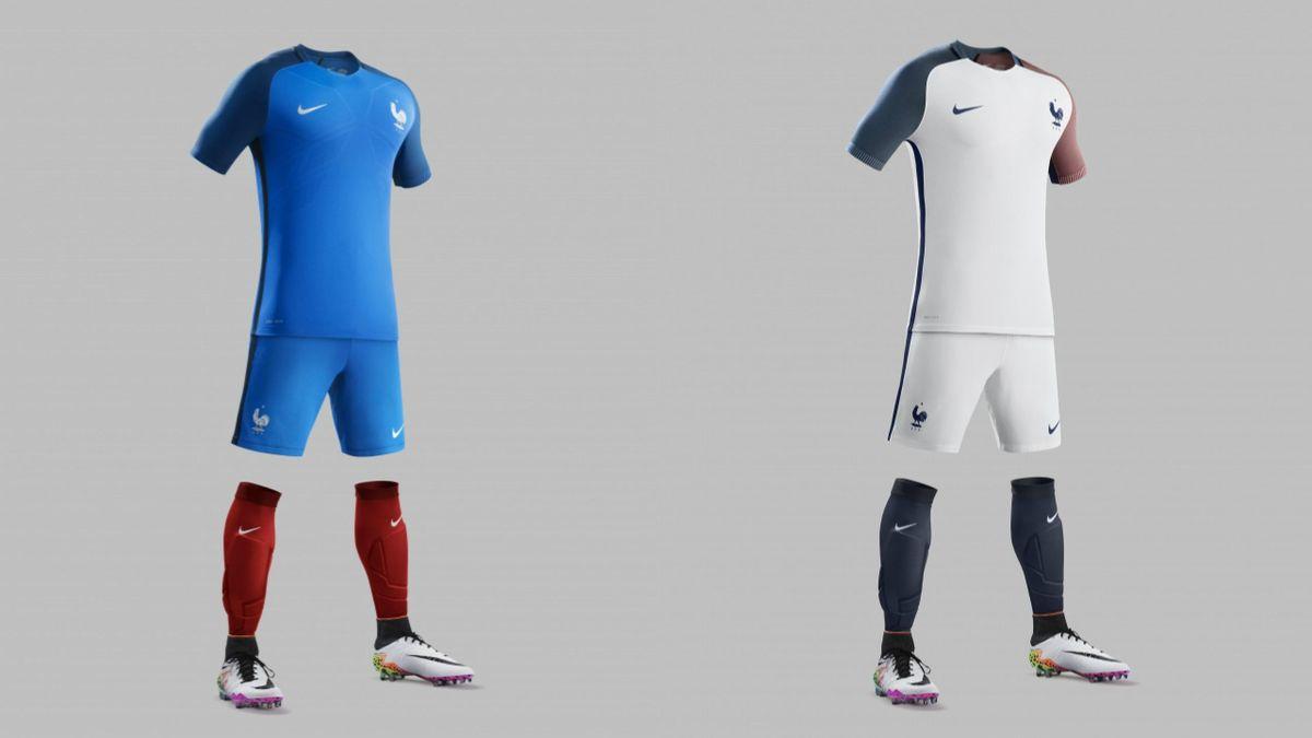 Les nouveaux maillots de l'équipe de France de football.