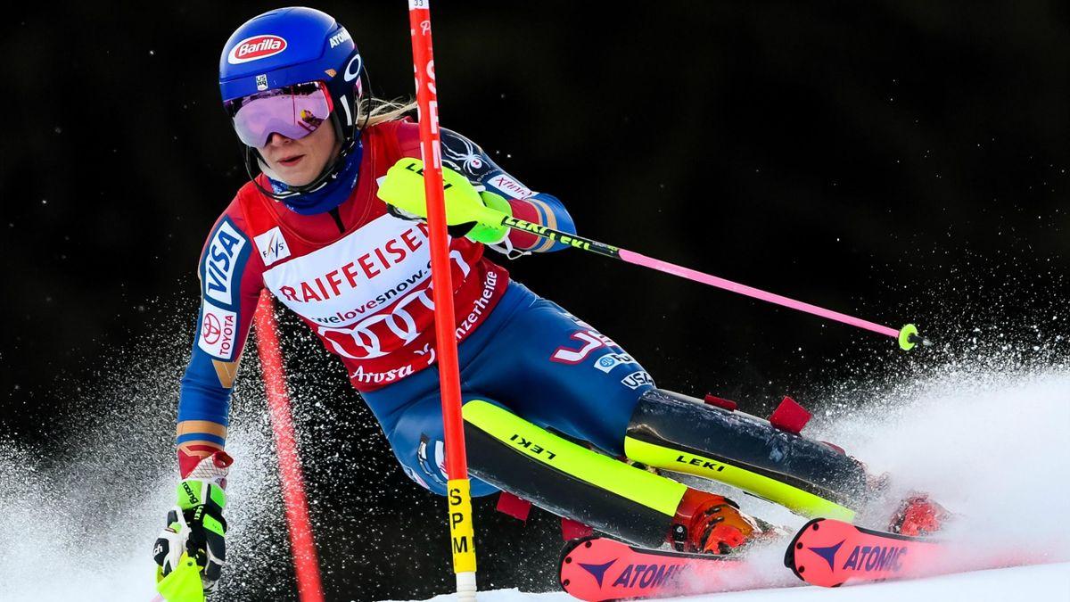 Mikaela Shiffrin lors du slalom de Lenzerheide, le 28 janvier 2018