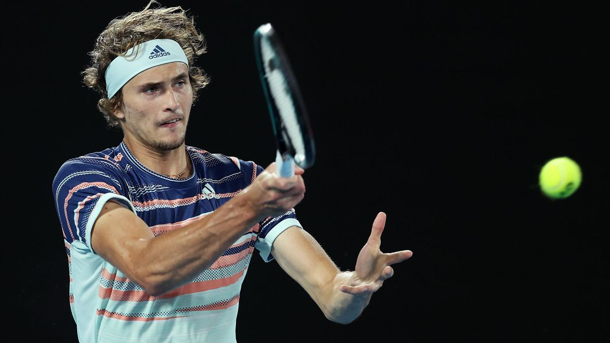 Alexander Zverev of Germany plays a forehand during his Men's SinglesSemifinal match against Dominic Thiem of Austria on day twelve of the 2020 Australian Open at Melbourne Park on January 31, 2020