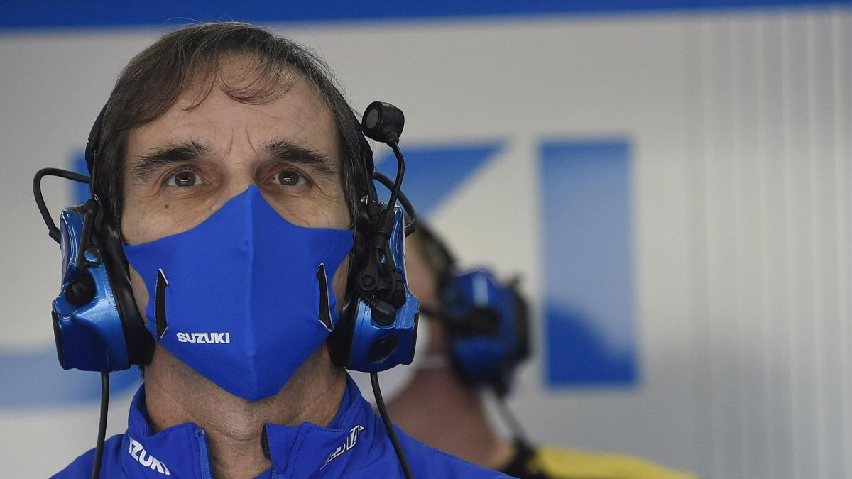 Davide Brivio of Italy and Team Suzuki MotoGP looks on in box during the free practice for the MotoGP of Comunitat Valenciana at Comunitat Valenciana Ricardo Tormo Circuit on November 13, 2020 in Valencia, Spain