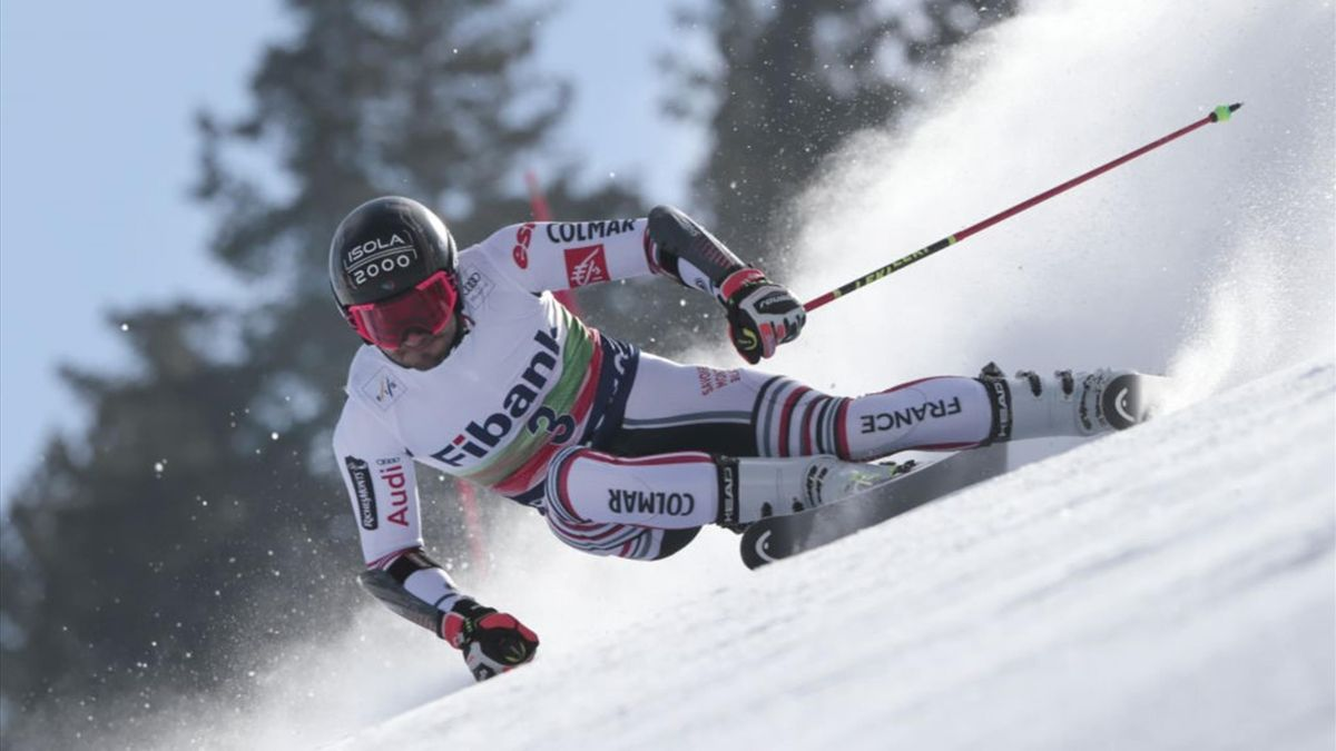 Mathieu Faivre of France in action during the Audi FIS Alpine Ski World Cup Men's Giant Slalom on February 28, 2021